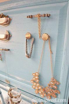 Repurposed Cabinet and hardware turned Jewelry Organizer - full tutorial #upcycle #repurposed #organization