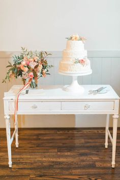 Our white desk serves as a gorgeous and elegant cake table and Katie and John's King Family Vineyard wedding reception!  Image by Jillian Michelle Photography and florals by Southern Blooms. *Paisley & Jade Vintage & Eclectic Furniture Rentals for Events, Weddings, Theatrical Productions & Photo Shoots*