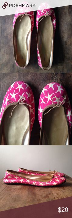 J. Crew Starfish Flats J. Crew ballet flats with whimsical starfish pattern. Gently used and only worn a handful of times. Some scuffs on the back of the heel, see photo. Perfect dressed up or down! J. Crew Shoes Flats & Loafers