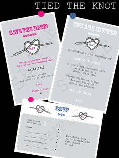 Printable and Personalised Tying The Knot  Wedding Stationery Set  Announce your celebration to your friends and family with our quirky personalised and printable Tying the Knot wedding stationery.    Save those all important pennies for more important things whilst still looking great with our digital personalised and printable wedding stationery.    Matching items available.    Different colour options available please contact us to discuss!