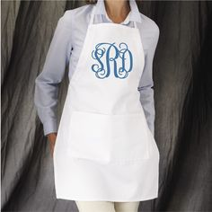 Monogrammed Apron, Women's Apron, Personalized Apron, Monogrammed Gifts, Housewarming Gifts, Group Discounts, Full length apron by PoshBoutiqueGa on Etsy