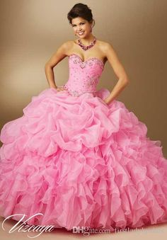 Designer Pink Quinceanera Dresses Organza Sweetheart Ball Gowns Rullfes Fashion Style Dress For Girls 2015 Birthday Party Gowns Website