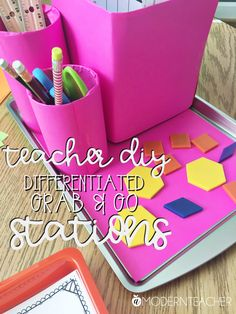 Differentiating stations by color with Astrobrights by A Modern Teacher