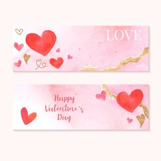 Valentine's Day banner watercolor style vector | premium image by rawpixel.com / Adj Valentines Design, Valentines Day Hearts, Valentine Heart, Valentine Day Cards, Bow Vector, Banner Vector, Vector Art, Heart Illustration, Graphic Illustration