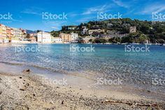 panoramic view of clear blue sea and beach to Silent bay, Sestri Levante Sestri Levante, Photos For Sale, Royalty Free Stock Photos, Sea, City, Illustration, Pictures, Outdoor, Photos