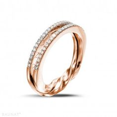 Red Gold Diamond Engagement Rings - 0.26 carat diamond design ring in red gold