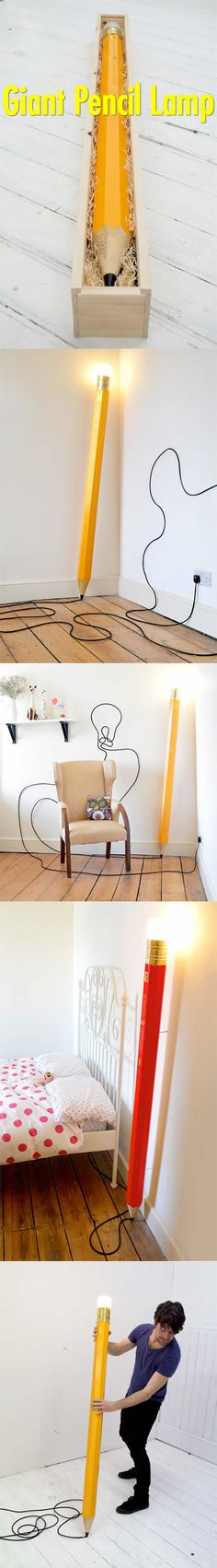 "Think out of the box! Unique lamp designed to look like a giant wooden pencil allows you to draw on walls and floors with an extra long cord.Made by talented husband and wife team Michael and Georgie Gettings.""Giant Pencil Lamp"" comes packaged inside of a large wooden box.via toxel.com"
