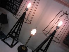 Industrial Jack Stand Lamp w/Tomato Cage Shade - A