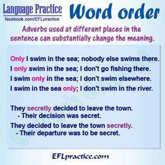 Word order -           Repinned by Chesapeake College Adult Education Program. Learn and improve your English language with our FREE Classes. Call Karen Luceti  410-443-1163  or email kluceti@chesapeake.edu to register for classes.  Eastern Shore of Maryland.  . www.chesapeake.edu/esl.