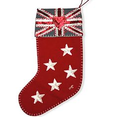 Sequin 5 Star Union Jack Christmas Stocking (Red) - Jan Constantine