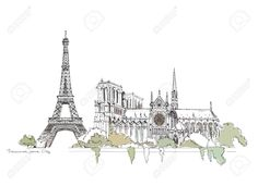 26530769-Paris-Illustration-Sketch-collection-Eiffel-tower-and-Notre-Dame-Stock-Vector.jpg (1300×946)