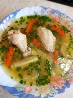 Zöldborsós csirkeaprólék leves