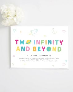 Two Infinity and Beyond Birthday Invite Moon Stars 2nd Birthday Party Themes, Toy Story Birthday, 1st Boy Birthday, Diy Birthday, Birthday Quotes, Birthday Party Decorations, Happy Birthday Wishes, Birthday Cards, Birthday Gifts