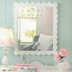 White Scalloped Wall Mirror