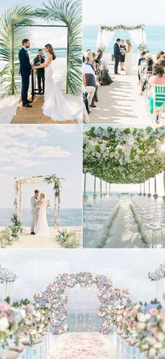 images showing five different wedding venues, all near the sea, decorated with flowers, palm leaves or floaty white fabric, florida destination weddings, arches and chairs, couples holding hands