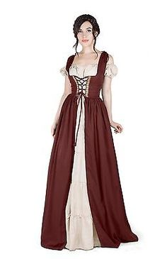 Renaissance Medieval Irish Costume Over Dress & Cream Boho Chemise Set.
