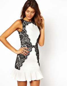 Dress With Lace Side and Fluted Hem