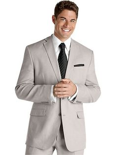 Suits & Suit Separates - Calvin Klein Light Gray Linen Suit - Men's Wearhouse