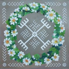 Traditional Latvian folk symbols with a floral wreath on grey. Acrylic on canvas, 40x40cm.