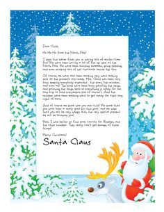 Letter from Santa with Santa and Rudolph the red-nosed reindeer on a thick blue border filled with snowy trees Christmas Games, Christmas Activities, Christmas Printables, All Things Christmas, Christmas Holidays, Christmas Decorations, Free Letters From Santa, Santa Letter Template, Holiday Crafts