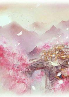 🌸 One of the best art works, credits to the artist 🌸 Wallpaper Animé, Art Asiatique, China Art, Anime Scenery, Pretty Art, Beautiful Artwork, Landscape Art, Fantasy Landscape, Japanese Art