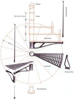 Maßskizze 1 von: Preis für Geschosshöhe von 285 cm, ohne Spindel, komplette Stufensätze mit, Handlauf, Geländerstäben, Verkleidunshülsen, für die Spindel oben, Zweischichtlackierung graphitgrau-metallic, Durchmesser: 166 cm, Tritthöhe: 19,15 cm Spiral Staircase Plan, Spiral Stairs Design, Stair Plan, Staircase Design, Spiral Staircases, Modern Stair Railing, Metal Stairs, Modern Stairs, Painted Stairs