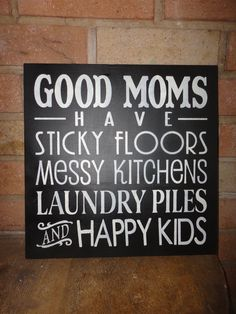 Good Moms Hand Painted Primitive Wood Typography Sign, Home Decor, Housewares, Subway Art, Mother's Day, Gifts. $22.00, via Etsy.