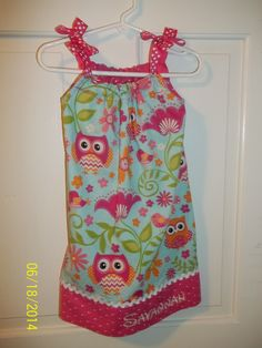 Monogrammed Owl Pillowcase Dress