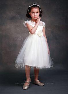 [US$ 29.89] A-Line/Princess Tea-length Flower Girl Dress - Tribute silk/CVC Short Sleeves Scoop Neck With Sash/Beading/Flower(s)