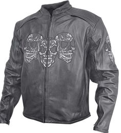 LARGE  Mens Armored Leather Jacket Glow In The Dark Skulls  biker motorcycle NEW