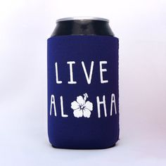 Live Aloha Hibiscus Hawaiian Neoprene Drink Cooler // NAVY BLUE