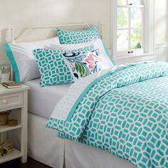 Stylish Bedding for Teen Girls : Modern Blue Lattice Teen Bedding