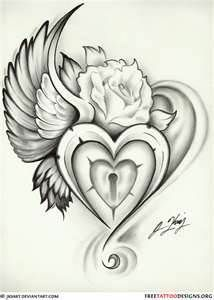 Winged Heart Lock And Rose Tattoo Design :add cross with keyhole inside heart instead of smaller heart