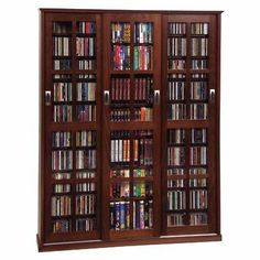 Triple Wide Media Storage Cabinet - Walnut Finish