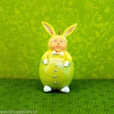 Krinkles-Easter-Dept-56-GREEN-BUNNY-MINI-ORNAMENT-Patience-Brewster-NIB-Retired