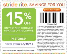 15% off purchase at Stride Rite! #coupon