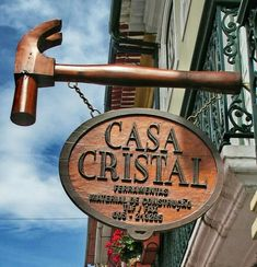 Casa Cristal ~ Terceira (Azores Island), Portugal (by Guido Tosatto) Carved Wood Signs, Wooden Signs, Storefront Signs, Cafe Sign, Pub Signs, Advertising Signs, Store Signs, Hanging Signs, Vintage Signs