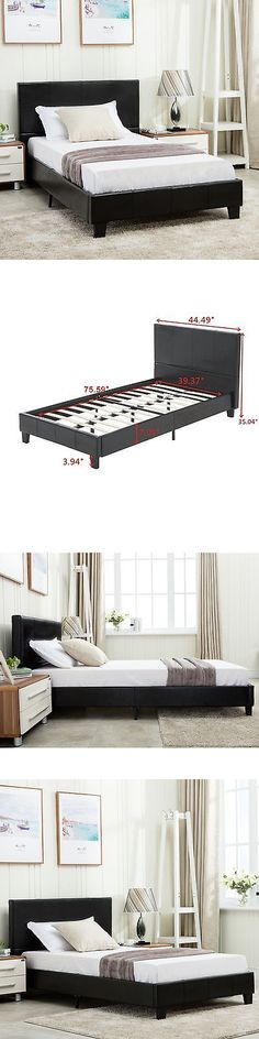 Beds and Bed Frames 175758: Twin Size Faux Leather Platform Bed Frame And Slats Upholstered Headboard Bedroom -> BUY IT NOW ONLY: $98.9 on eBay!