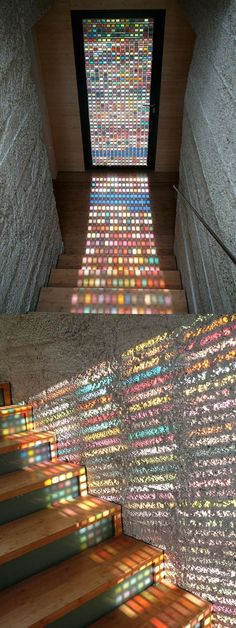 Stained Glass Door Made Of Pantone Swatches Beautiful stained glass . Stained Glass Door Made Of Pantone Swatches Beautiful stained glass door made of hundreds of pantone swatches by Italian architect Armin Blasbichler. Stained Glass Door, Stained Glass Light, Stained Concrete, Concrete Floors, Fused Glass, Boho Home, Home And Deco, Interior Architecture, Interior Stairs