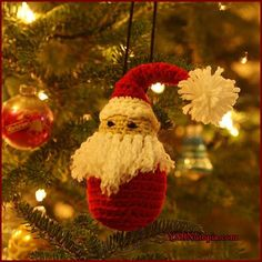 Santa Ornament - free crochet pattern and video at YARNutopia by Nadia Fuad. 12 Days of Christmas.
