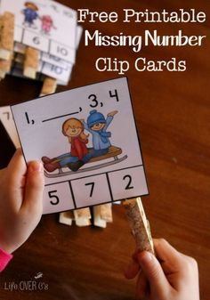 FREE winter missing number clip cards for kindergarten. Hands-on way to work on number order for kids this winter season! Kindergarten Centers, Kindergarten Classroom, Teaching Math, Number Games For Kindergarten, Kindergarten Morning Work, Kindergarten Freebies, Teaching Numbers, Fun Math, Preschool Activities
