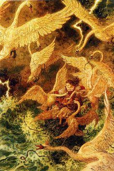 """The Wild Swans"" by Hans Christian Andersen, artwork by Anton Lomaev ) Anton, Seven Swans, Fairytale Art, Hans Christian, Children's Book Illustration, Botanical Illustration, Faeries, Fantasy Art, Fairy Tales"