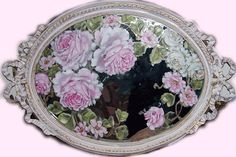 painted on a mirror Shabby Chic Chairs, Shabby Chic Furniture, Painted Dressers, Painted Furniture, Mirror Image, Mirror Mirror, Vintage Mirrors, Mirror Painting, Romantic Roses