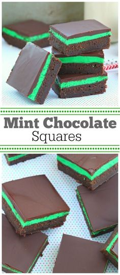 Easy Mint Chocolate Squares Recipe - great St Patricks Day dessert or baking treat edible gift traybake Mint Chocolate, Chocolate Squares, Chocolate Topping, Baking Chocolate, Chocolate Desserts, Christmas Baking, Christmas Desserts, Christmas Holiday, Christmas Goodies