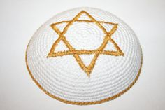 kippah white with gold edge and gold star of by crochetkippah