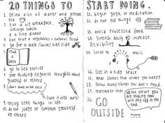 20 things to start doing - I love this so much I almost want to print it out and put it on my wall