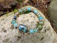 Green Blue Mix  Bracelet Donkey Creek  by HarborGirlDesigns