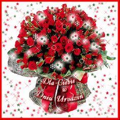 Gify i Obrazki: ŻYCZENIA URODZINOWE Heart Gif, Dear Sister, Love Flowers, Christmas Wreaths, Holiday Decor, Madonna, Google, Roses, Nighty Night