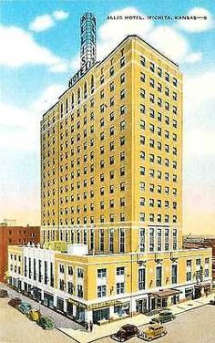 Wichita Kansas KS 1940s New Allis Hotel Kansas Tallest Antique Vintage Postcard