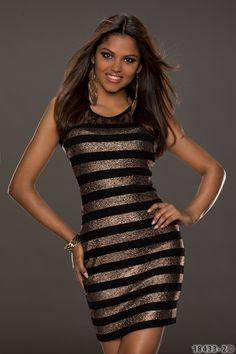 Goud met zwart jurkje, bodycon partydress met kanten detail